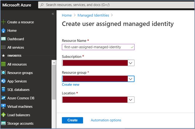 Azure Portal: Create user assigned managed identity