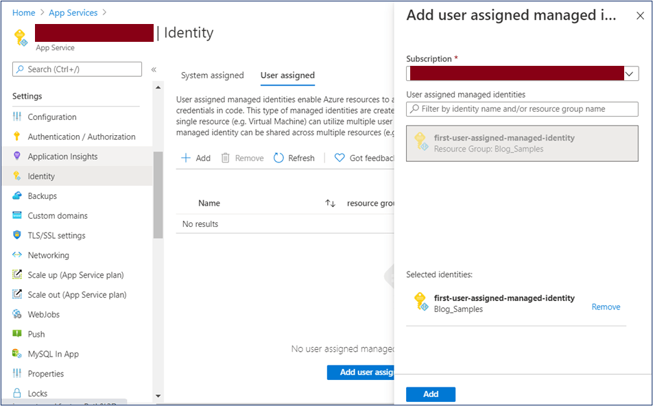 Azure Portal: User assigned identity for App Service
