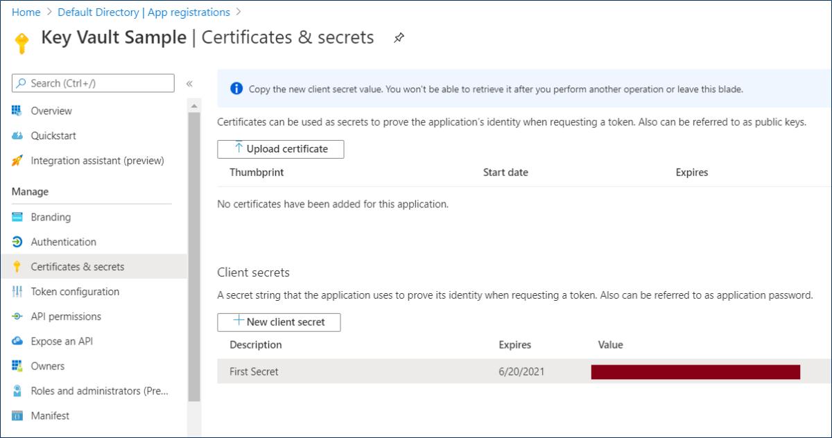 Azure AD: Generate client secret for an app registration