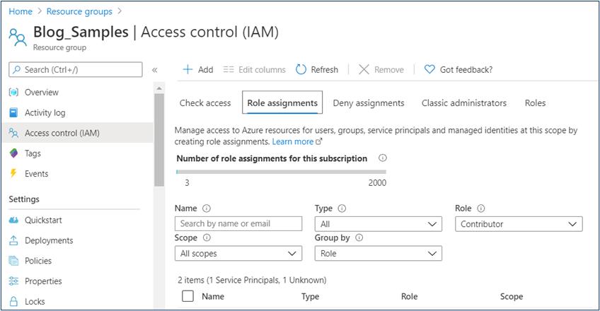 Azure Portal: Access Control (IAM) panel