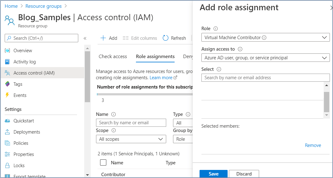 Azure Portal: Role assignment on resource group