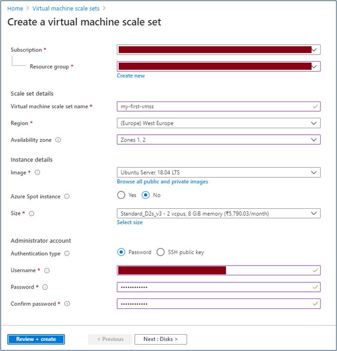 Azure Portal: Create virtual machine scale set