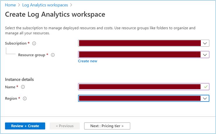 Azure Portal: Create Log Analytics Workspace