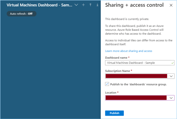 Azure Portal: Sharing the newly created dashboard