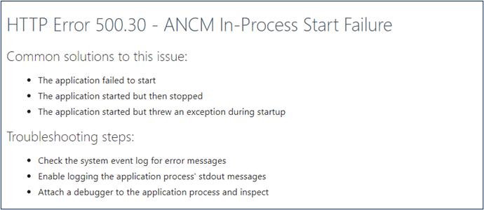 HTTP Error 500.30 - ANCM In-Process start failure