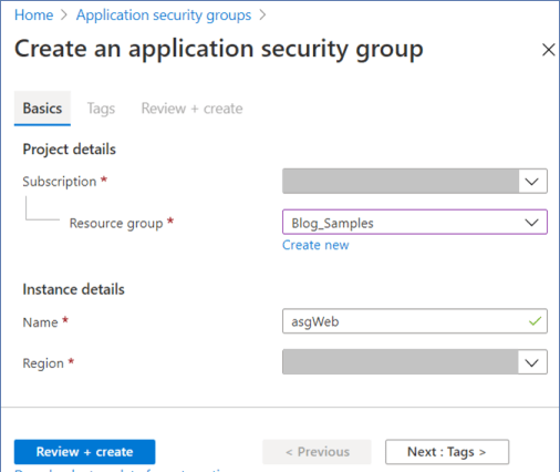Azure Portal: Create a new application security group