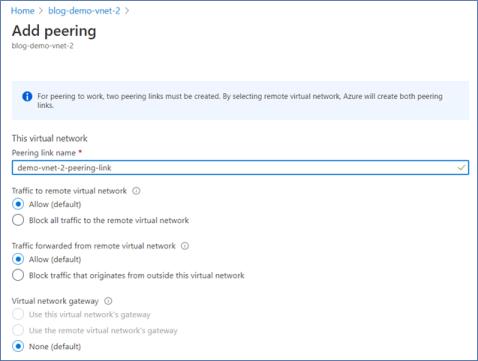 Azure Portal: Add peering between virtual networks - part 1