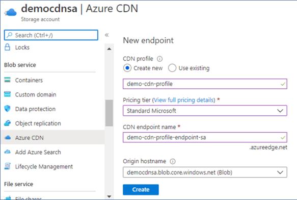 Azure Portal: Enable Azure CDN on storage account