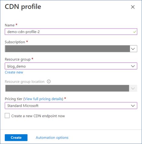 Azure Portal: Create CDN Profile