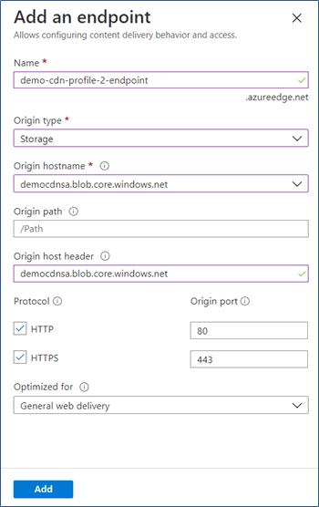 Azure Portal: Add endpoint in CDN profile