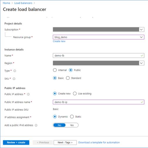 Azure Portal: Create public load balancer
