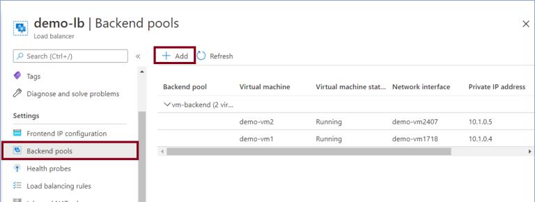 Azure Portal: Backend pools under Settings