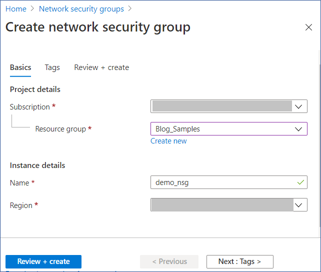 Azure Portal: Create network security group wizard