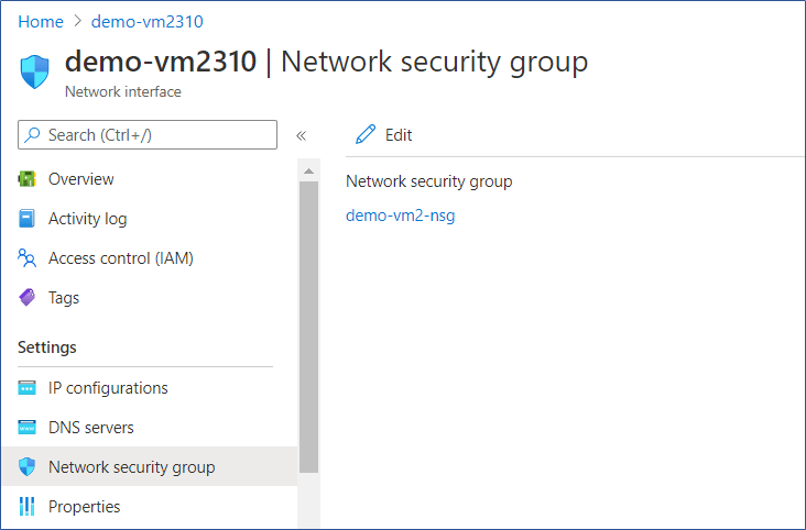 Azure Portal: Change NSG associated with Network Interface