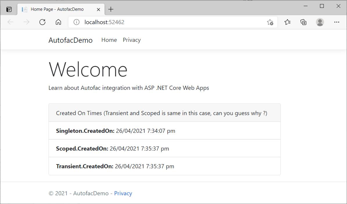 Demo: Autofac Container with ASP .NET Core Web Application