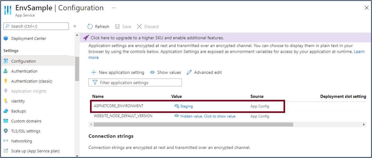 Azure App Service: Provide aspnetcore_environment value