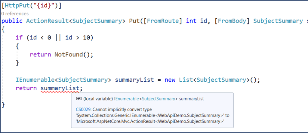 .NET Core Web API Action Return Types and Implicit Conversions