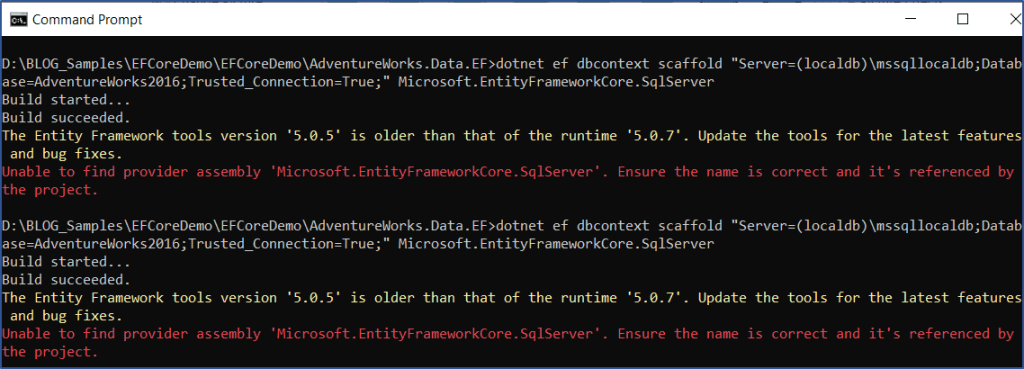 .NET EF Core - NuGet Package Error While Scaffolding