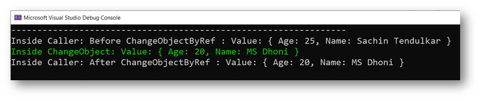Reference Type - Pass by reference output