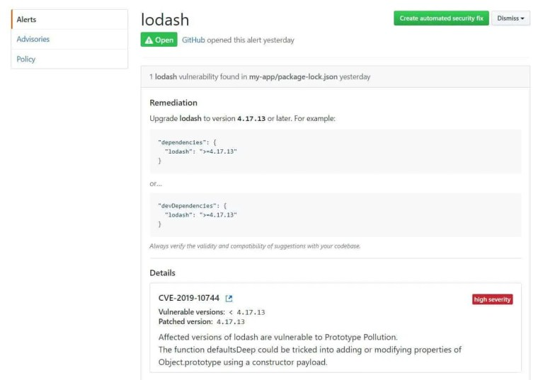 GitHub Security alerts on Vulnerabilities | TheCodeBuzz