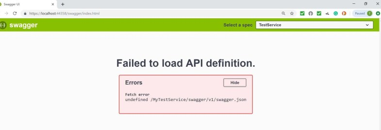 Resolved: Failed to load API definition in Swagger API
