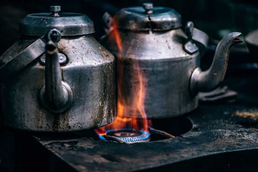 Kettles on camp fire