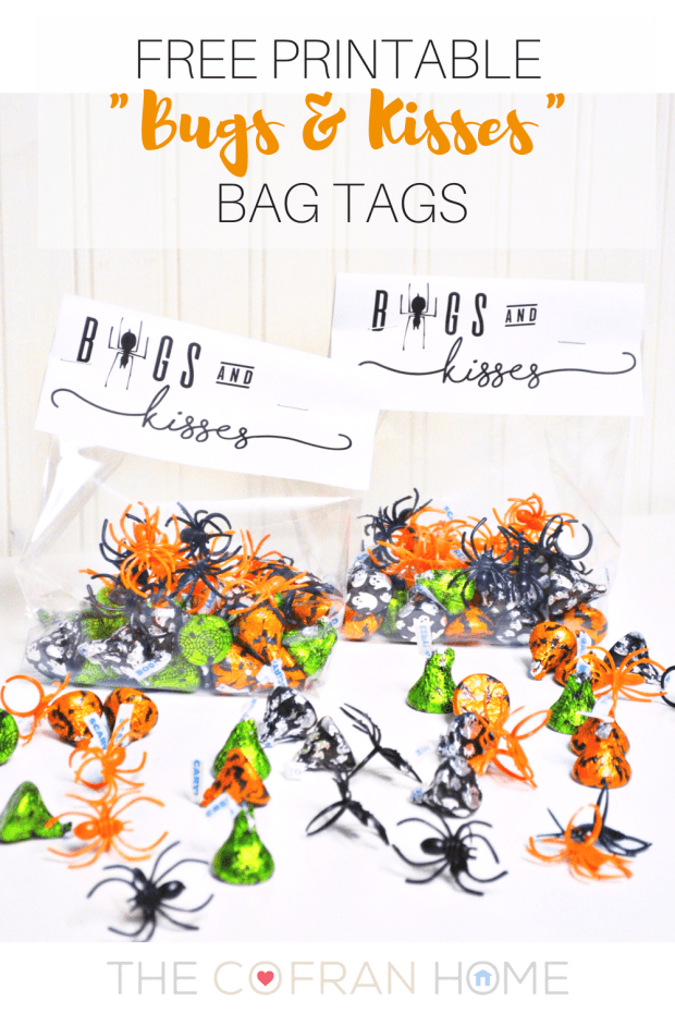 Free Printable Bugs and Kisses Bag Tags