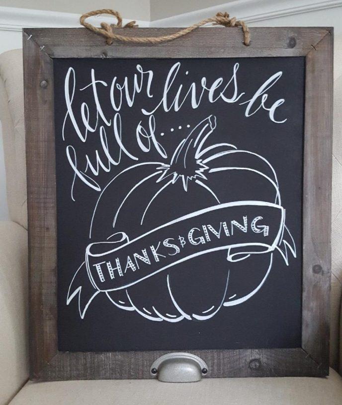 Handlettered thanksgiving chalkboard