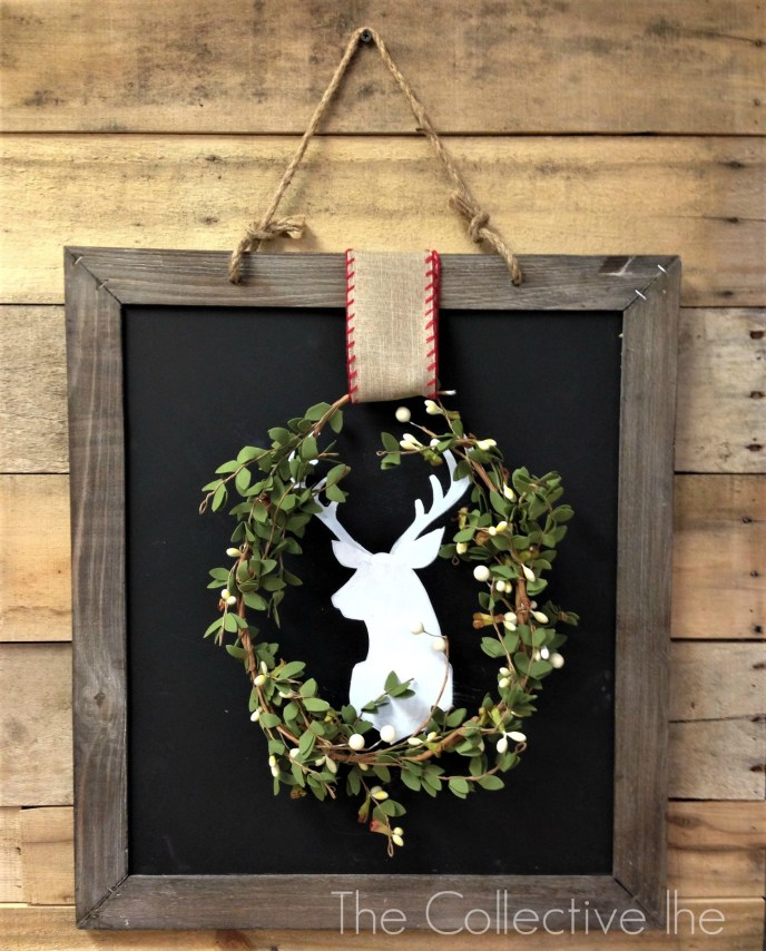 The Collective lhe Merry Reindeer chalkboard and wreath