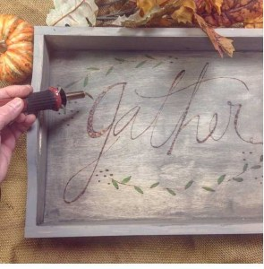 wood burned gather tray at The Collective lhe makery