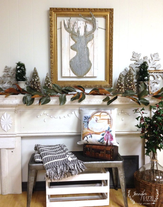 Deer head winter mantel collective