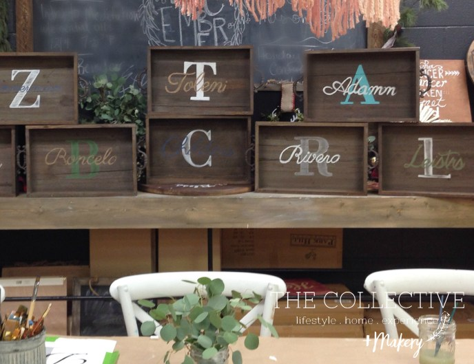 Wood monogrammed tray class