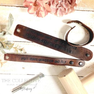 Leather cuff stamping class at The Collective lhe + Makery