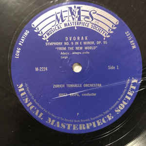 Dvorak-Joseph Krips, Orchestre Tonhalle De Zurich- Symphonie Du Nouveau Monde, Symphonie N° 9 En Mi Mineur Opus 95