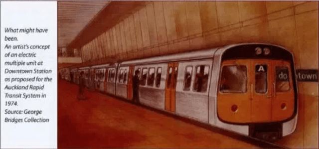 Drawings of an train arriving at an Auckland underground system, 1974