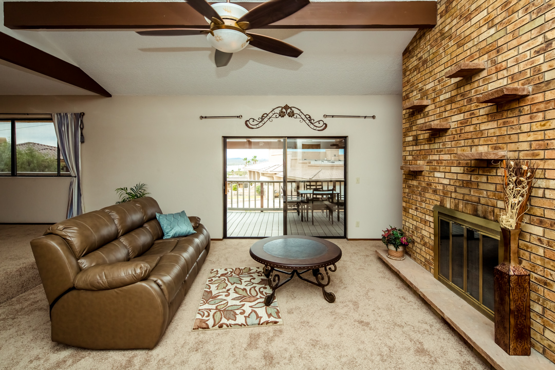 Lakeview Home in Lake Havasu w  Indoor Pool  721 Donner Cir rear upper deck with lake view