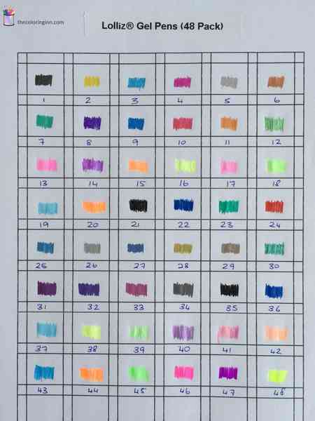 Color Charts For Gel Pens The Coloring Inn
