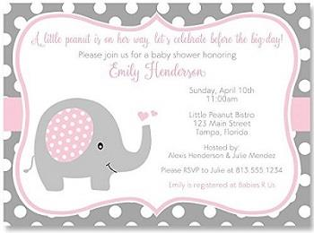 Elephant, Baby Shower Invitations Sprinkle Girls