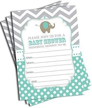 Elephant Invitations and Envelopes