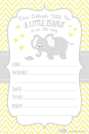 Little Peanut Elephant Baby Shower Invitations