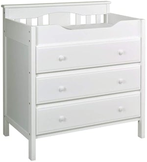 white changing table dresser combo