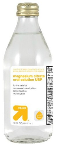 Bottle of clear, lemon-flavored Magnesium Citrate laxative