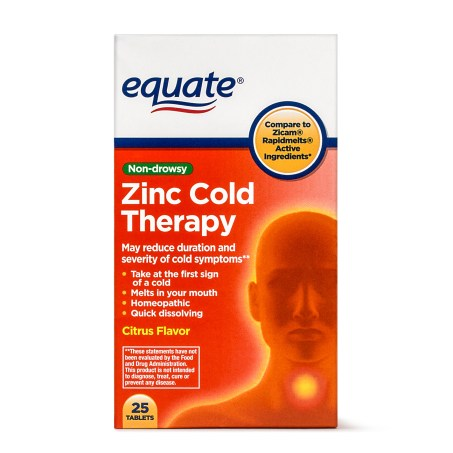 Packaging of Equate Zinc Cold Therapy Tablets