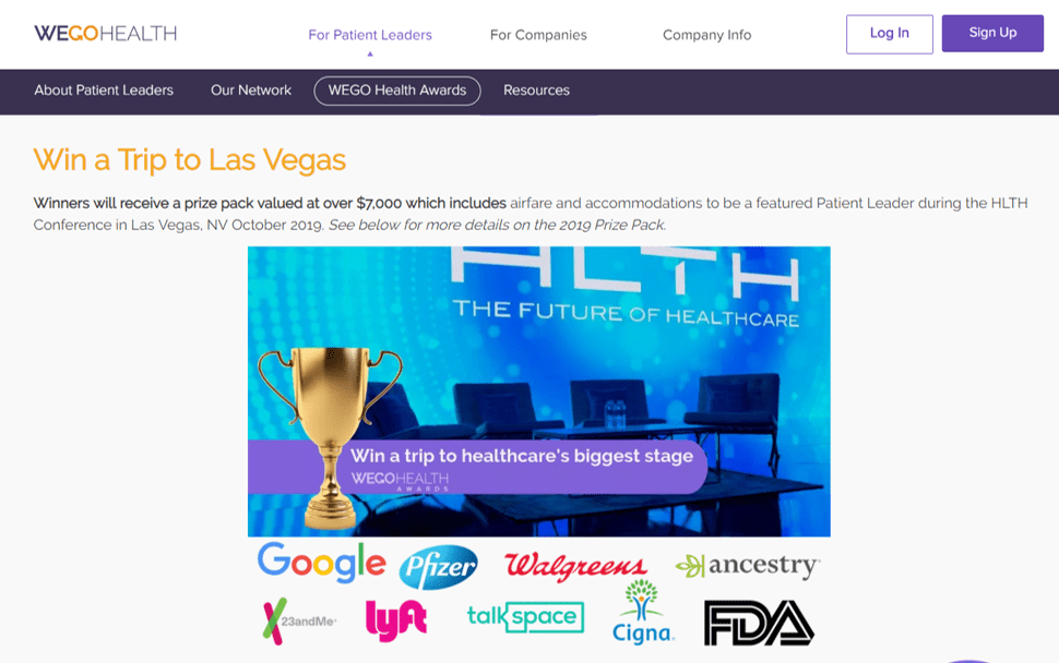 wego health awards win a trip to health conference