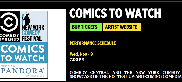 Comedy Central announces 2011 Comics To Watch, live showcase also will screen online