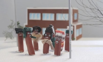 "The icy flagpole scene from ""A Christmas Story,"" re-enacted by sausages"