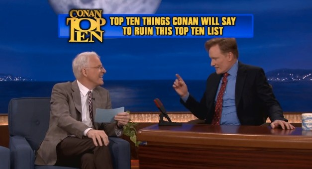 "Steve Martin presents ""Conan's Top 10"" List in oddly sincere tribute to Letterman"