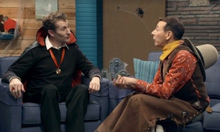 Pee-wee Herman tricks Scott Aukerman with treats for Comedy Bang! Bang!'s Halloween episode on IFC