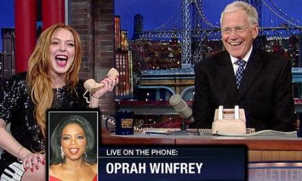 Lindsay, Oprah. Oprah, Lindsay. David Letterman gets Oprah on the phone with Lindsay Lohan