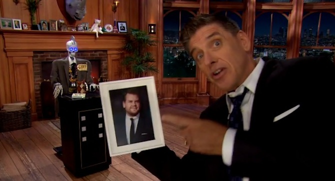 Craig Ferguson congratulates James Corden on-air for winning The Late Late Show hosting gig